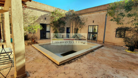 Lalla Takerkoust Lake, Riad with swimming pool in the heart of the village, Atlas view
